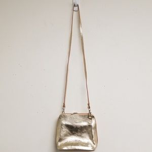 Vera Pelle Gold Zipper Shoulder Bag